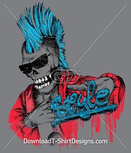 Punk Skull Graffiti Mohawk Sunglasses