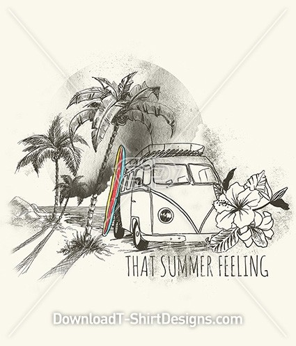 That Summer Feeling Retro Kombi Van Palms