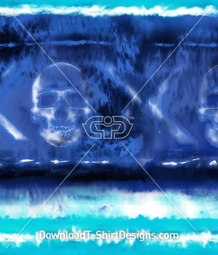 Blue Tie Dye Stripe Skull Cross Seamless Pattern