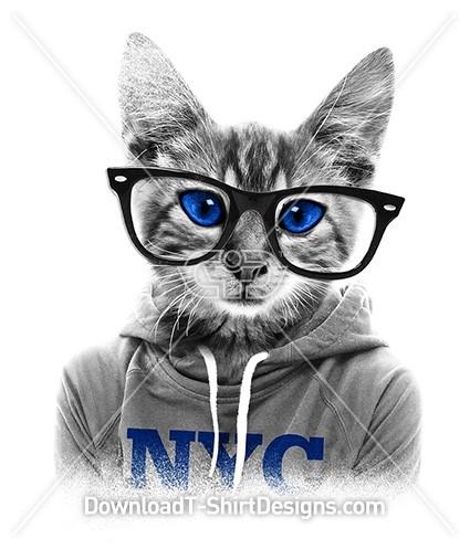 Quirky Nerd Kitten Cat Hoodie Sunglasses