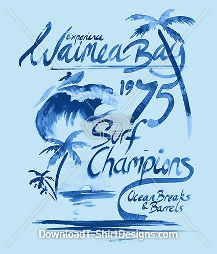 Blue Watercolor Waimea Bay Surf Poster