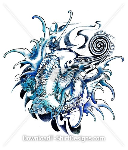 Blue Watercolor Japanese Koi Fish Flower Waves