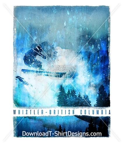 Blue Paint Effect Whistler Mountain Ski Slope Poster