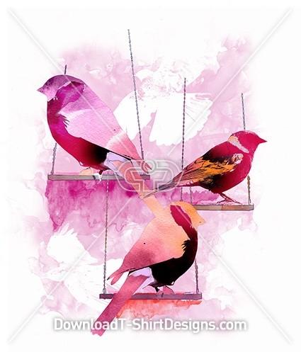 Pretty Feminine Watercolor Birds on Swings