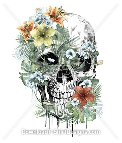 Floral Tropical Jungle Leaf Skull Illustration