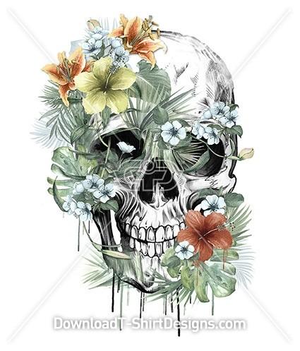 Floral Tropical Jungle Leaf Skull Illustration