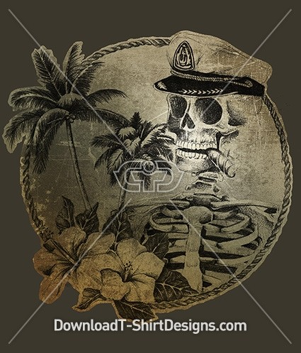 Vintage Tropical Island Palm Tree Skeleton Sailor
