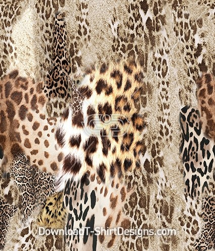 Abstract Leopard Animal Skin Collage Seamless Pattern