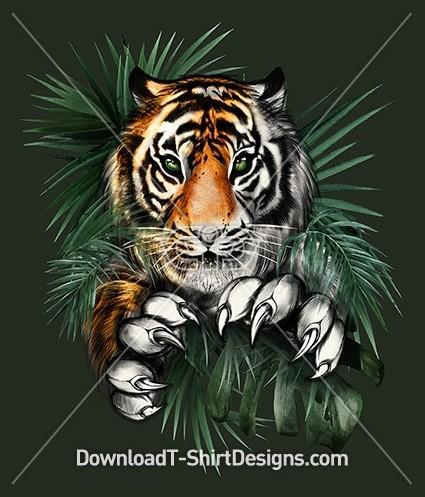 Fierce Jumping Tiger Jungle Leaves