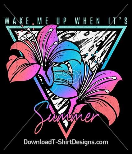 Retro 80's Hibiscus Summer Slogan Quote