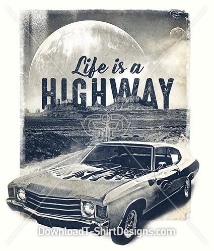 Retro Muscle Car Desert Highway Slogan Quote