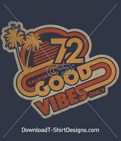 Retro 70's Good Vibes Only Slogan Quote