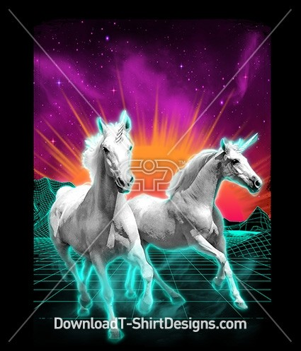 Retro 80's Unicorn Neon Sunrise Space Galaxy