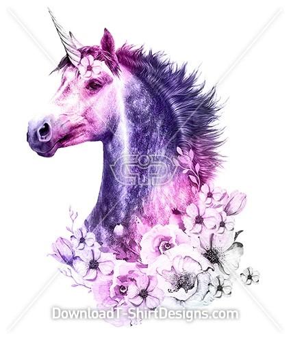 Enchanted Mystical Unicorn Flower Portrait