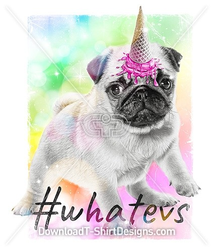 Cute Pug Puppy Ice Cream Rainbow Unicorn