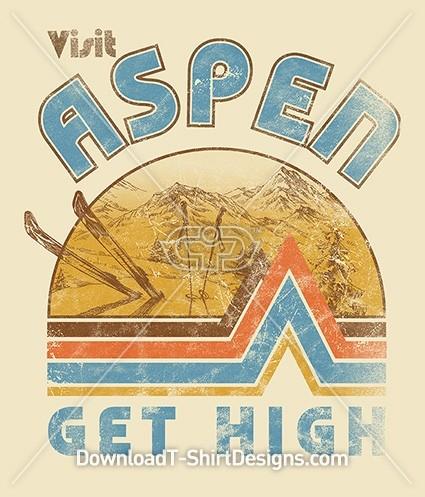 Retro Visit Aspen Ski Mountain Poster