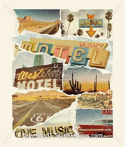 Retro Road Trip Photo Torn Paper Collage