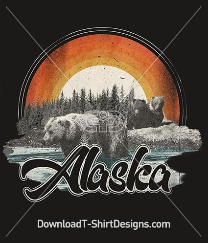 Retro Alaska Grizzly Bear Tourist Poster