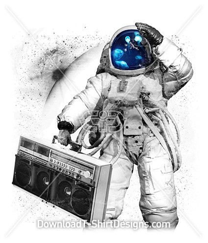 Space Astronaut Jelly Fish Music Boom Box