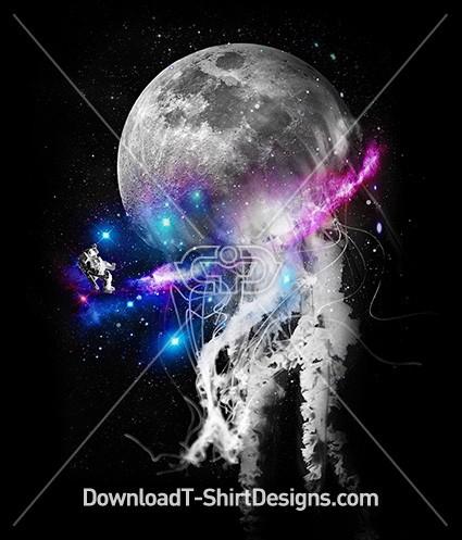 Space Galaxy Planet Jellyfish Astronaut