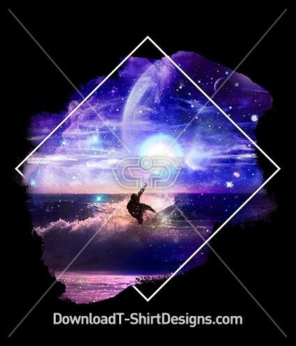 Space Galaxy Night Surfer Ocean Waves