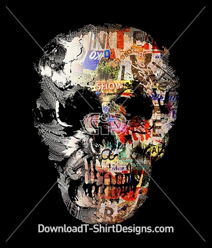 Graffiti Grunge Magazine Paper Skull Silhouette