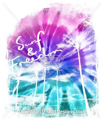 Tie Dye Gradient Palm Tree Surf Sky