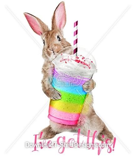 Cute Bunny Rabbit Milkshake Quote Slogan