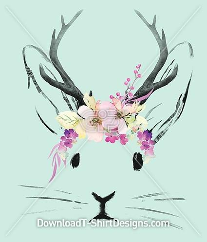 Watercolor Bunny Rabbit Jackalope Spring Flowers