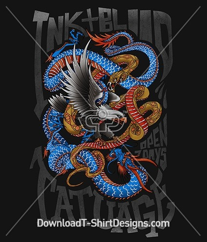 Japanese Oriental Tattoo Eagle Dragon Snake