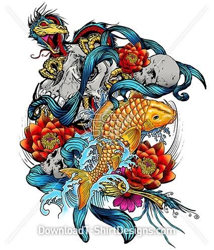 Oriental Koi Fish Lotus Skull Dragon Tattoo
