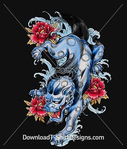 Vintage Japanese Fu Dog Mythical Creature Tattoo