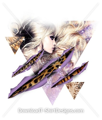 Ripped Triangle Abstract Animal Print Sexy Woman