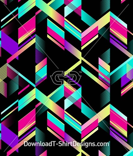 Abstract Geometric Gradient Chevron Seamless Pattern