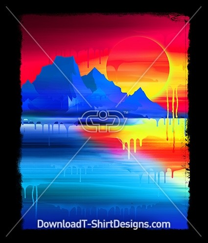Abstract Dripping Gradient Alien Planet Landscape