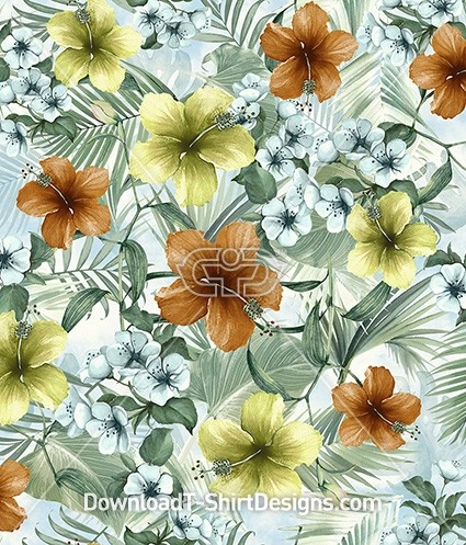 Tropical Watercolor Nature Hibiscus Flower Seamless Pattern