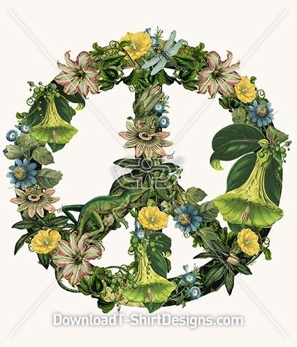 Vintage Botanical Nature Illustration Peace Sign