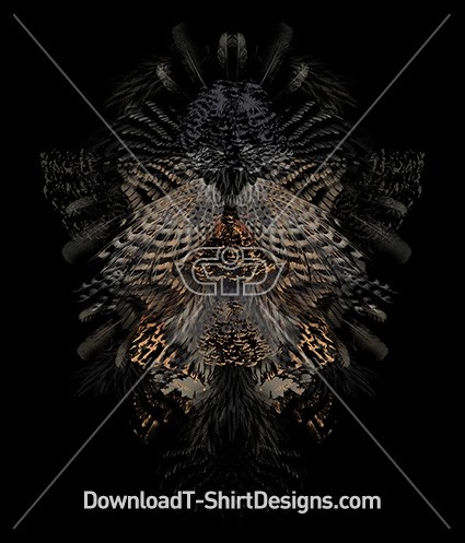 Abstract Birds Wings Feathers Mirrored Motif