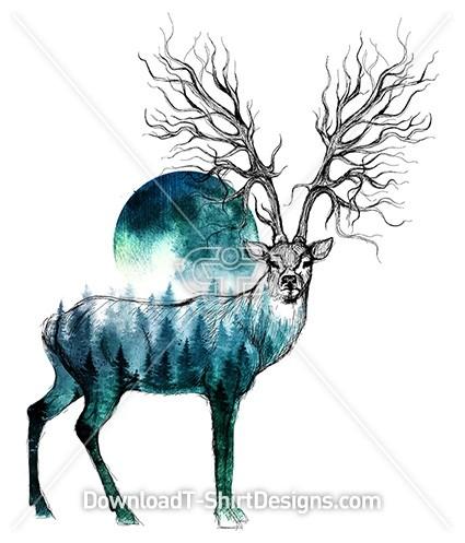 Stag Deer Tree Root Horn Forest Illustration