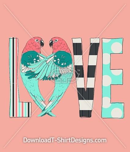 Parrot Bird Pattern Cute Love Typography