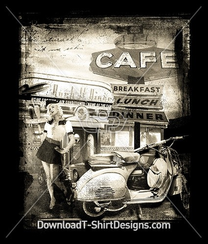 Retro Cafe Diner Pin Up Girl Scooter