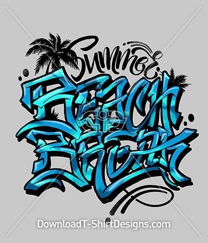 Summer Beach Break Slogan Quote Graffiti Typography
