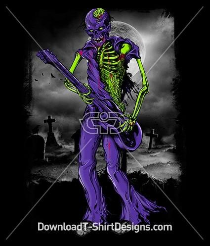 Scary Zombie Monster Skeleton Graveyard Guitar