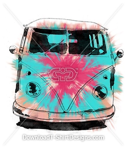 Tie Dye Water Colour Retro Surf Van Car