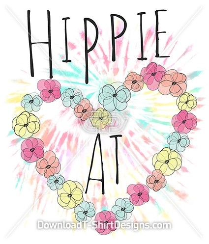 Floral Tie Dye Hippie At Heart