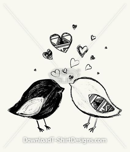 Hand Drawn Cute Birds Hearts Tribal Pattern