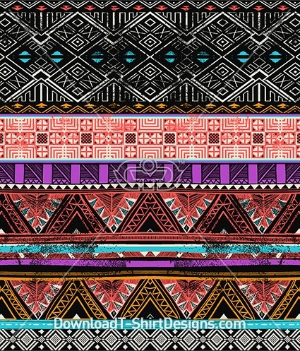 Hand Drawn Ethnic Tribal Stripe Seamless Pattern