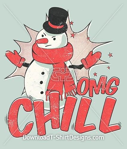OMG Chill Retro Pop Art Christmas Snowman