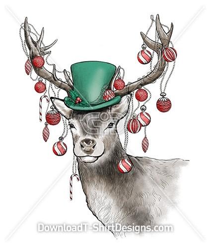 Christmas Decorated Vintage Stag Deer