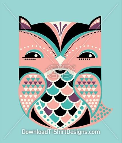 Cute Folk Art Pattern Owl